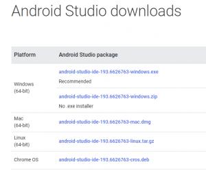 Android Studio downloads